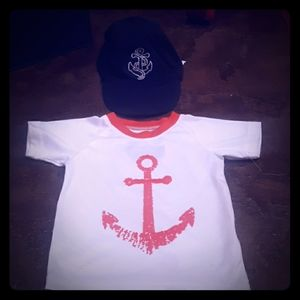 Anchor Hat & Rashguard Swim Top Shirt